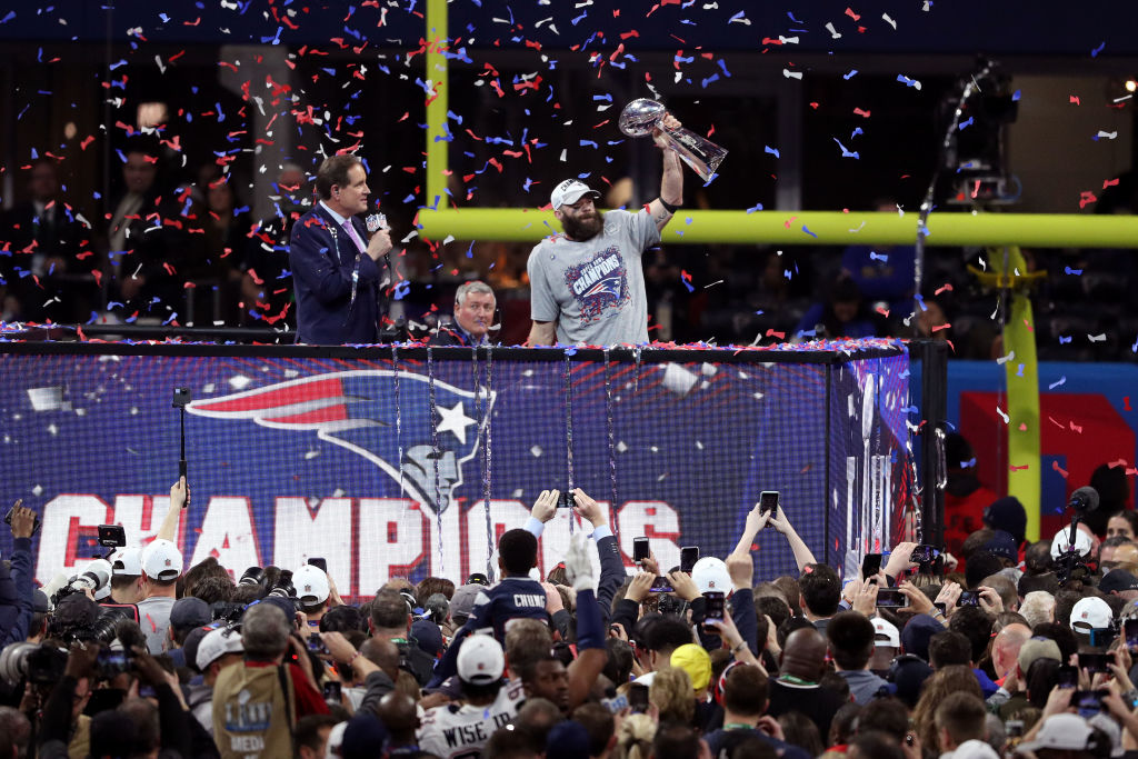 Julian Edelman  11 of the New England Patriots celebrates his teams 13-3 win ed4deb90c