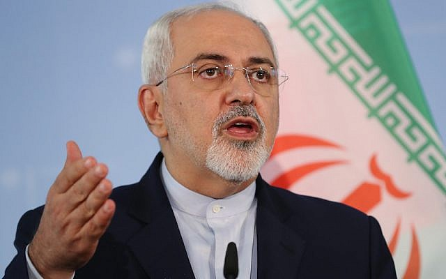 Iranian Minister of Foreign Affairs Mohammad Javad Zarif speaking in Berlin, June 27, 2017. (Sean Gallup/Images/via JTA)