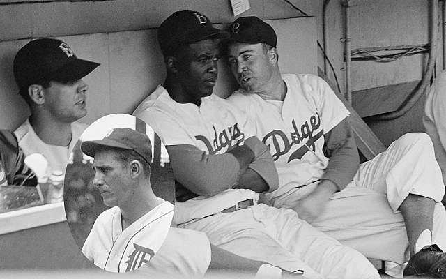 Robinson in the dugout with Duke Snider, right. Inset: Tigers slugger Hank Greenberg told Robinson not to let the hatemongers get to him. Photograph by Kenneth Eide for Look magazine Greenberg credit: Wikimedia Commons