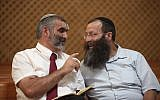 Otzma Yehudit party leaders Michael Ben-Ari, left, and Baruch Marzel, in 2012. (Yoav Ari Dudkevitch/Flash90/via JTA)