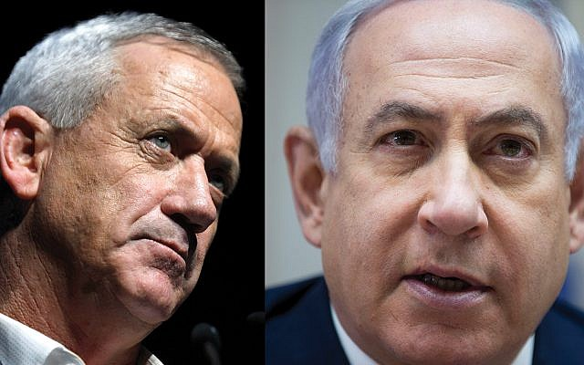 Prime Minister Benjamin Netanyahu, right, and his chief rival, Benny Gantz. Photos getty Images