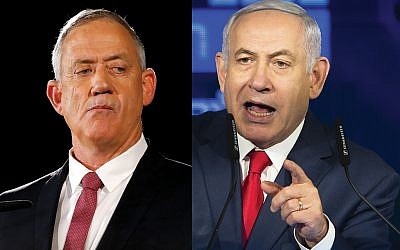 Benny Gantz, left, is mounting a serious challenge to embattled Prime Minister Benjamin Netanyahu. Getty Images