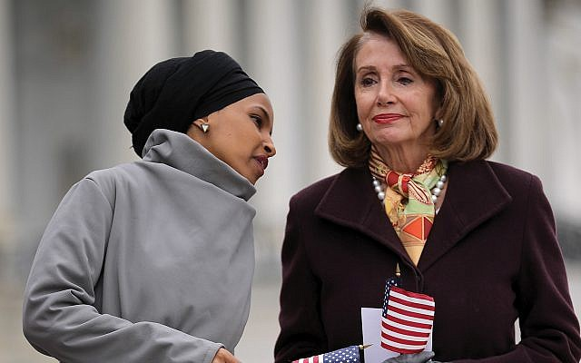 Generational change on Israel? Rep. Ilhan Omar, left, and House Speaker Nancy Pelosi. Getty Images
