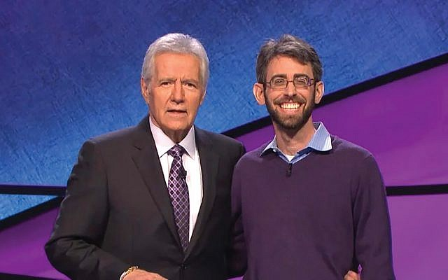 "Rabbi Geoffrey Mitelman, right, who was a ""Jeopardy!"" contestant in 2016, says host Alex Trebek is ""an incredible professional."" PHOTO COURTESY OF 'JEOPARDY!'"