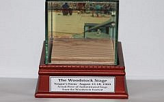 Nine-square inches of the Woodstock stage, with photo of Richie Havens playing, after 50 years in a bungalow colony.  Courtesy of Peace of Woodstock
