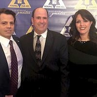 Farley Weiss, president of the National Council of Young Israel, center, with his wife Jessica and former White House communications director Anthony Scaramucci.Courtesy of Farley Weiss