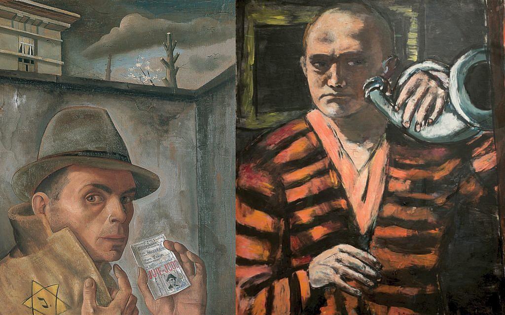 "Felix Nussbaum's ""Self-Portrait with Jewish Identity Card,""  Max Beckmann's ""Self-Portrait with Horn,"" right, are part of Neue Galerie show. Nussbaum: Felix-Nussbaum-Haus Osnabrück/ARS Neue Galerie New York/ARS / Beckmann: Wikimedia Commons"