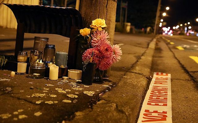Tributes are left near the Al Noor Mosque in Christchurch, New Zealand, March 16, 2019. (Fiona Goodall/Getty Images/via JTA)