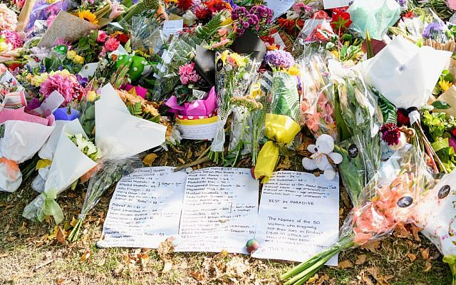 Flowers and condolences are seen in front of Al Noor mosque on March 20, 2019 in Christchurch, New Zealand. 50 people were killed, and dozens are still injured in hospital after a gunman opened fire on two Christchurch mosques on Friday, 15 March. Getty Images