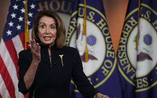 Speaker of the House Rep. Nancy Pelosi at a weekly news conference at the U.S. Capitol, Feb. 14, 2019. (Alex Wong/Getty Images/via JTA)