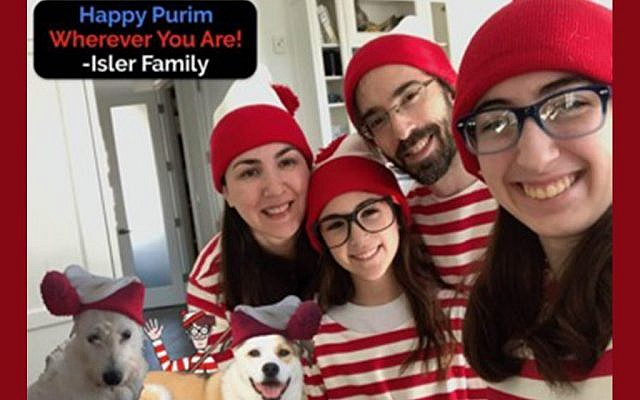 "A family dresses up for their ""Where's Waldo?"" themed Mishloach Manot. Photos courtesy of Rena Max"