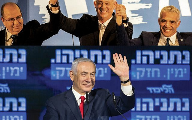 The Blue and White ticket with Benny Gantz, center, Moshe Yaalon, left, and Yair Lapid, top. Above, Prime Minister Benjamin Netanyahu. Getty Images