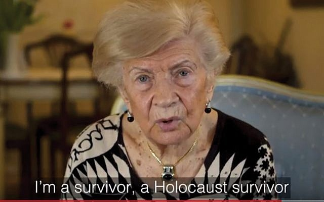 "Holocaust survivor Lea Evron, in a WJRO video, says, ""I will not give up"" trying to get her family's property returned. WJRO"