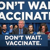 New York City Mayor Bill de Blasio at a press conference where he announced that in four Williamsburg zip codes anyone who is not vaccinated could be fined $1,000. New York City Mayor's Office