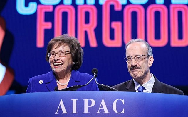 Reps. Nita Lowey and Eliot Engel of New York speak to AIPAC's annual policy conference on March 25, 2019. (AIPAC/via JTA)