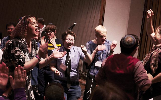 "Attendees at the ""Trans Jews Are Here Convening"" dance at Havdalah. Photos by Samantha Davis/Courtesy of CBST"