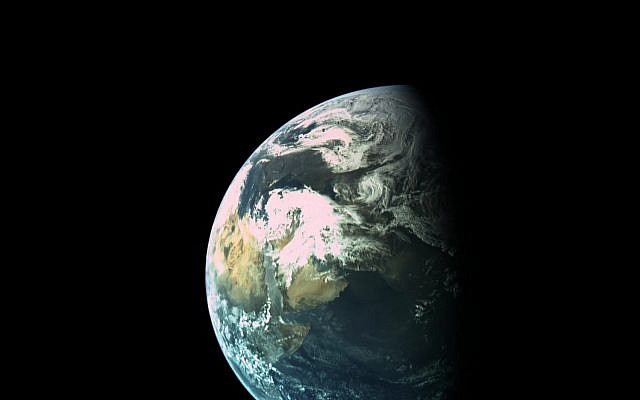 Beresheet engineers released this photo on April 1 of the Arabian peninsula at a height of 16,000 kilometers, photographed from the spacecraft's external cameras. (courtesy Beresheet/via Times of Israel)