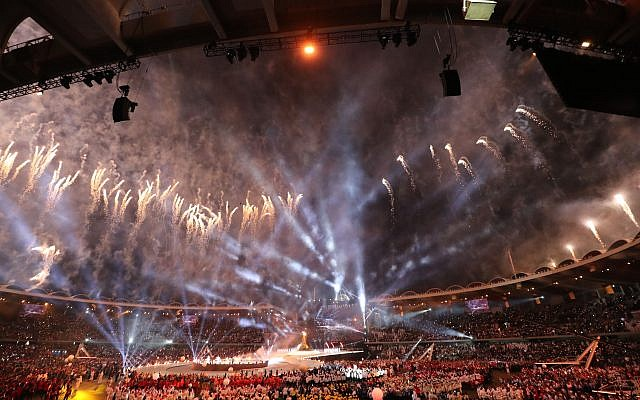 Fireworks come out of Zayed Sports City Stadium to celebrate the opening ceremony for the Special Olympics World Games in Abu Dhabi. KARIM SAHIB/AFP/Getty Images