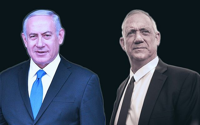 It's still unclear who will emerge victorious in Israel's elections: Prime Minister Benjamin Netanyahu, left, or Benny Gantz. (Getty Images/via JTA)