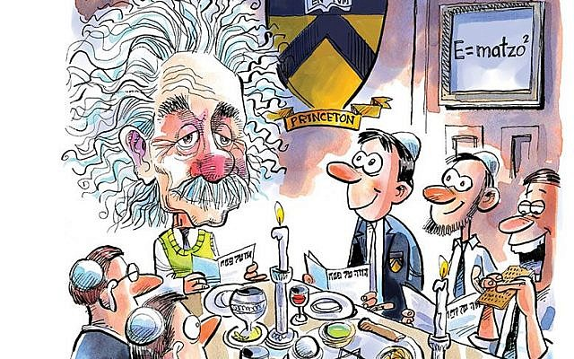Illustration of Albert Einstein, at a seder at Princeton in 1944. Courtesy of DAVE WHAMOND