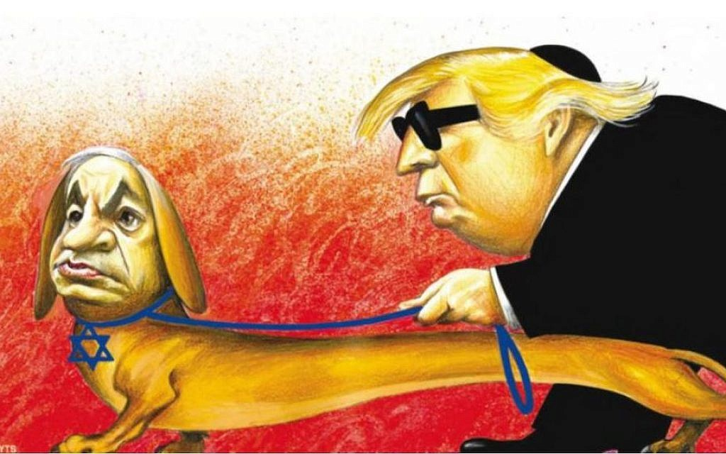 The offending New York Times cartoon. depicting Israeli Prime Minister Benjamin Netanyahu as a guide dog wearing a Star of David collar and leading President Donald Trump, who is wearing a black kippah.