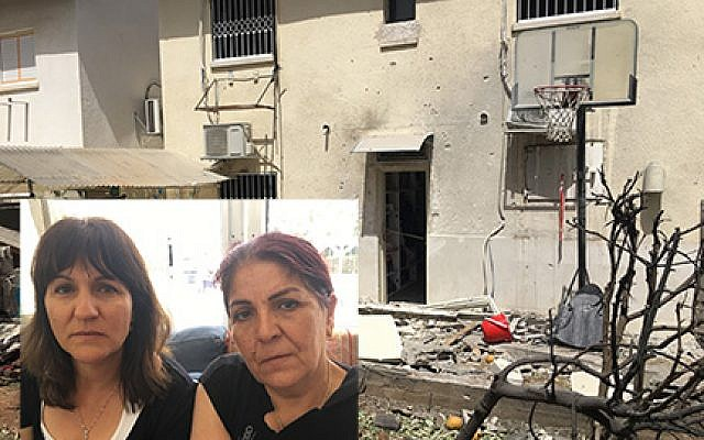 The Ashkelon home of Moshe Agadi, who was killed in a rocket attack from Gaza when he stepped outside for a cigarette. Inset: Agadi's sisters, Cheli Mualem and Janet Tverya, sitting shiva in a nearby home. Nathan Jeffay/JW