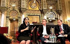 Out of the shadows: Mijal Bitton, left, praised the new book by Matti Friedman, center, for spotlighting the contribution of Mizrahi Jews to Israel's founding. At right, moderator Rabbi Charles Savenor of Park Avenue Synagogue. Gary Rosenblatt/JW