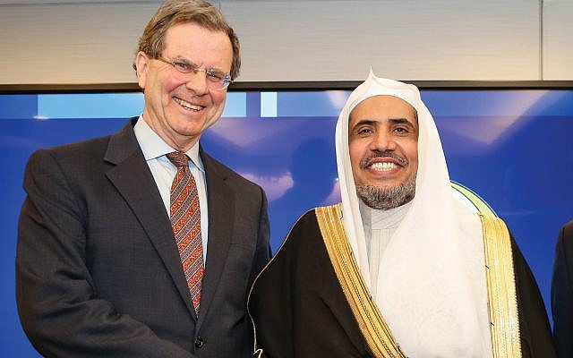 The AJC's David Harris, left, and Dr. Mohammad Abdulkarim Al-Issa, secretary-general of the Mecca-based Muslim World League at recent event here. Courtesy of AJC