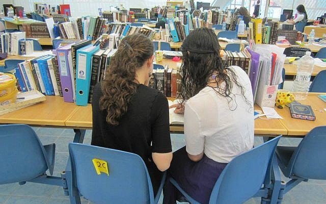 Two young women studying Talmud at Migdal Oz. Courtesy of Rivka Cohen