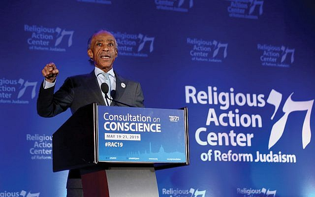 "Al Sharpton speaking this week at the Reform movement's Religious Action Center conference. ""You cannot fight racism without fighting anti-Semitism,"" he said. RAC"