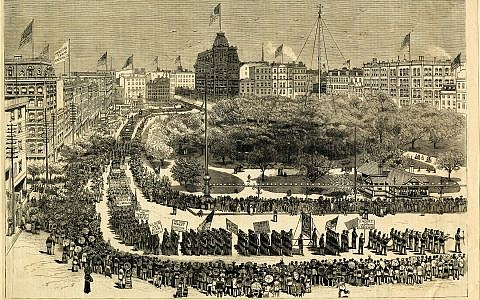 The Grand Demonstration of Workingmen in Union Square in September 1882. Published in Frank Leslie's Illustrated Newspaper/Courtesy Private Collection