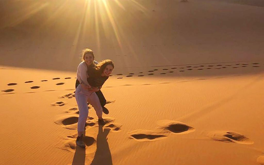 Kivunim participants frolicking in the Sahara Desert. Emma Goldberg/JW