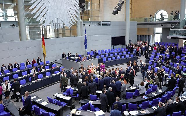 A view of the German Bundestag, or parliament, May 17, 2019, when its major parties voted to condemn the Boycott, Divestment and Sanctions movement as anti-Semitic. (Wolfgang Kumm/picture alliance via Getty Images)