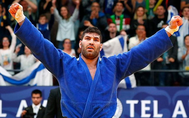 Ori Sasson of Israel reacts during their men's plus 100 kg weight category final Judo match at the Tel Aviv Grand Prix 2019 in the Israeli coastal city of Tel Aviv on January 26, 2019. JACK GUEZ/AFP/Getty Images