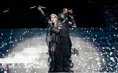 TEL AVIV, ISRAEL - MAY 18: Madonna and Quavo, perform live on stage after the 64th annual Eurovision Song Contest held at Tel Aviv Fairgrounds on May 18, 2019 in Tel Aviv, Israel. Michael Campanella/Getty Images