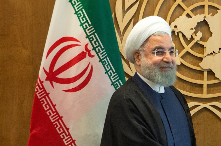 Iranian President Hassan Rouhani at U.N. headquarters in New York, Sept. 18, 2017. (Kevin Hagen/Getty Images/via JTA)