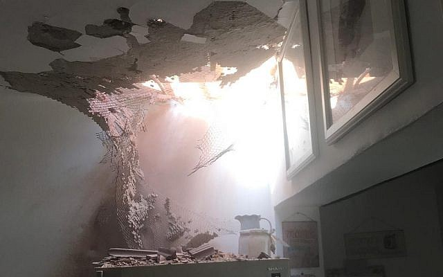 A home in southern Israel's Shaar Hanegev Regional Council damaged by a rocket fired from the Gaza Strip is seen on May 4, 2019. (Shaar Hanegev Regional Council via TOI)