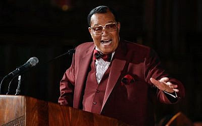 Nation of Islam leader Louis Farrakhan speaks at St. Sabina Catholic Church in Chicago, May 9, 2019. (Kamil KrzaczynskiI/AFP/Getty Images/via JTA)