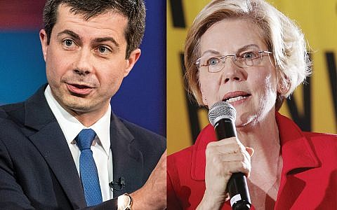 Democratic presidential hopefuls South Bend, Ind., Mayor Pete Buttigieg and Sen. Elizabeth Warren have both staked out critical positions on Israel.  Getty Images