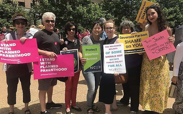 NCJW members in St. Louis rally recently against an effort in Missouri to shut down the last abortion clinic in the state.  Liz Schneider