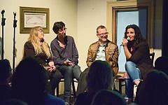 "Russian-Jewish comedian Kira Soltanovich, right, at JDC-sponsored panel/comedy night this week. ""I was 2 when I came here, and I'm still traumatized by immigration,"" she quipped. Lev Gringauz/JW"