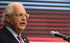 David Friedman, the U.S. ambassador to Israel, speaking at the opening of the U.S. embassy in Jerusalem last May. Friedman's recent annexation comment touched off a flurry of speculation. Getty Images