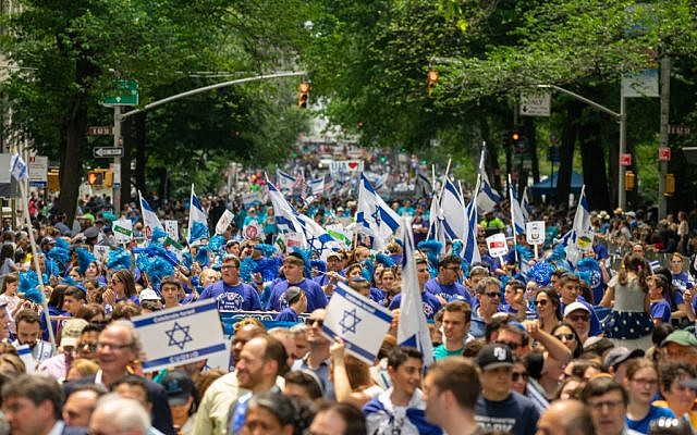 People participate in the annual Celebrate Israel Parade on June 2, 2019 in New York City. Getty Images