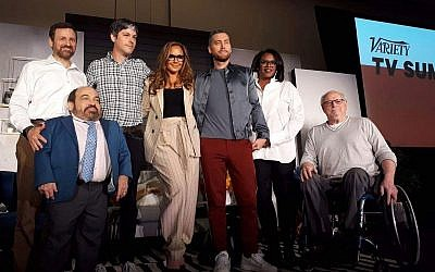 Jay Ruderman, President of the Ruderman Family Foundation with Danny Woodburn Leah Remini, Alan Rucker at the Variety TV Summit. Courtesy of Ruderman Family Foundation