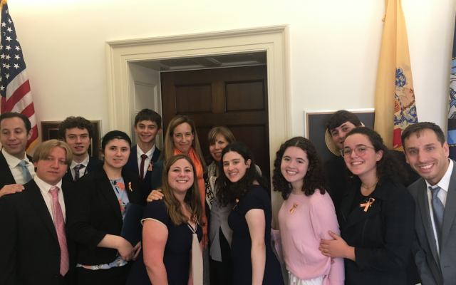 Nine students from Greater MetroWest N.J. met with Congresswoman Mikie Sherrill (D-NJ11). Photo courtesy of Linda Scherzer
