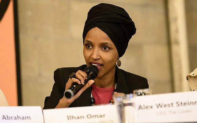 Rep. Ilhan Omar of Minnesota speaks at a town hall meeting in Minneapolis, April 24, 2019. (Stephen Maturen/Getty Images/via JTA)