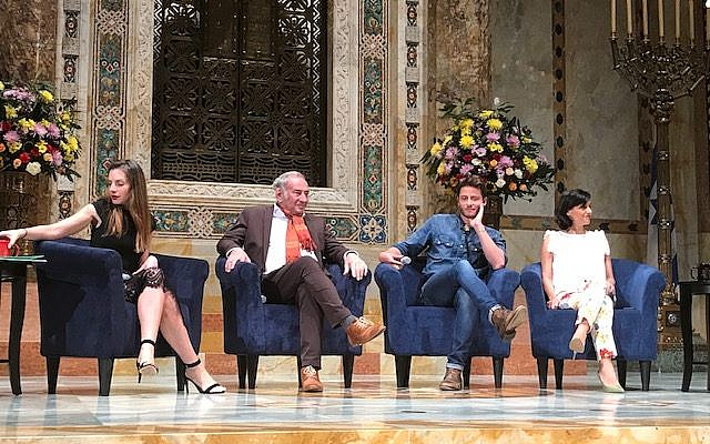 """Shtisel"" cast members Neta Riskin, left, Doval'e Glickman, Michael Aloni and the show's producer, Dikla Barkai, at Tuesday night's event at Temple Emanu-El."