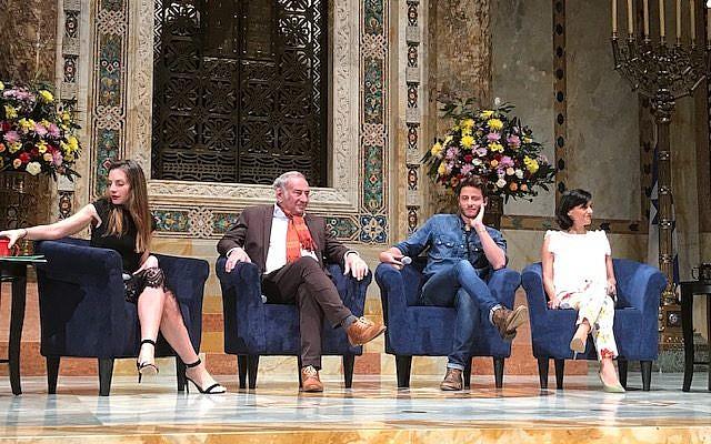 """Shtisel"" cast members Neta Riskin, left, Doval'e Glickman, Michael Aloni and the show's producer, Dikla Barkai, at Tuesday night's event at Temple Emanu-El."