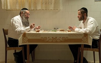 Meal ticket: Aloni, as Kive Shtisel, with Doval'e Glickman. The success of the show floored Aloni. (Ohad Romano)