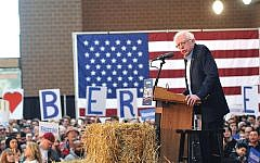 Sen. Bernie Sanders in Iowa. He is testing the party on U.S. policy toward Israel. Getty Images